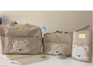 Kit bolsas maternidade cara de urso 4 peças
