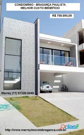 Vendo casa nova, condomínio, bragança paulista, preço excelente. marrey (11) 97326 0445
