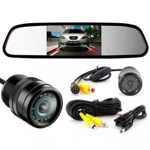 Câmera de ré visão noturna e espelho retrovisor com tela