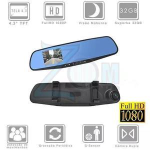 Espelho retrovisor tela 4,3 lcd + câmera de vídeo frontal