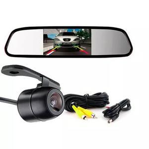 Retrovisor lcd 4.3 + camera de ré borboleta visão noturna