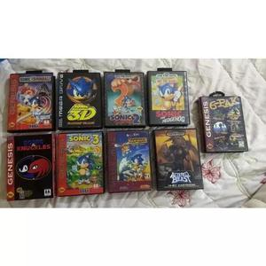 Fitas originais mega drive, sonics, altered beast 6-pak