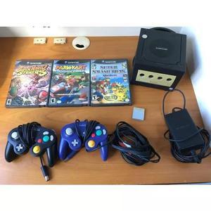 Nintendo game cube, 2 controle e 3 jogos. tudo original
