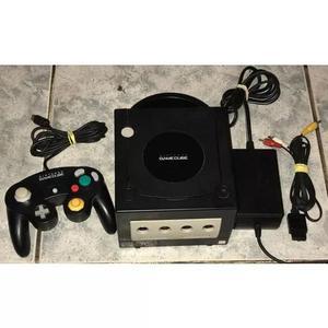 Nintendo game cube preto com controle original