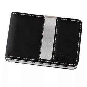Preto branco couro bi - dobrar dinheiro clipe carteira para