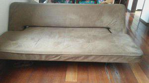 Sofá cama reclinável 03 lugares marrom camurça -