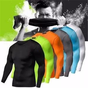 3 camiseta slim fit manga longa camisa térmica compressão