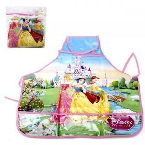 Avental escolar infantil princes disney rosa/verde ref. y231