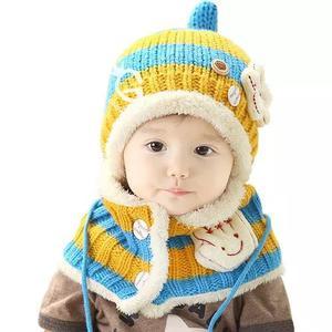 Cachecol Com Toucas E Chapéu Inverno Lã Para Criança Bebe