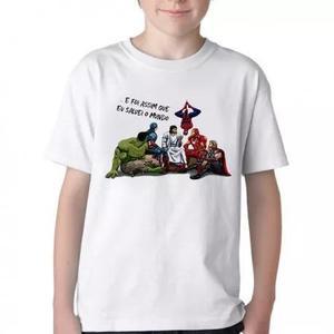 Camiseta blusa criança jesus heroi marvel salvei mundo