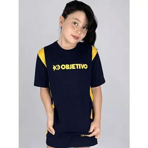 Camiseta manga curta azul objetivo