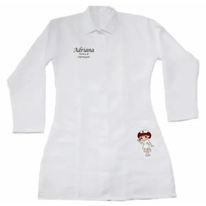 Jaleco manga longa personalizado enfermeira professora