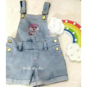 Jardineira macaquinho jeans menina estilo lilica ripilica