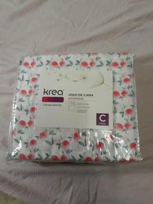 Jogo de lençóis em estampas coloridas 100%poliéster