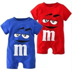 Macacão infantil roupas de criança bebê mm's manga curta