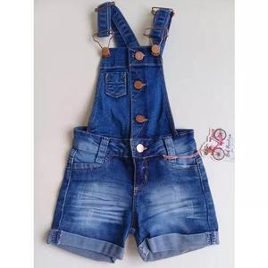 Macacão jardineira jeans bebê criança infantil menina