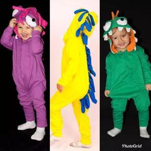 Macacão pijama criança menina menino monstrinho infantil
