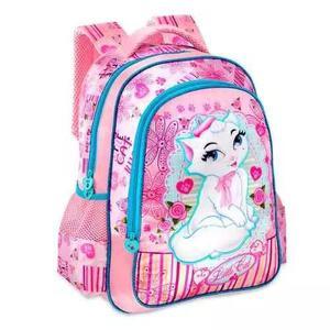 Mochila escolar menina little cat mochilete criança caderno