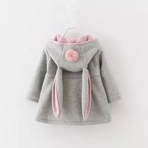 Roupa bebê menina casaco com touca criança coelhinha cinza
