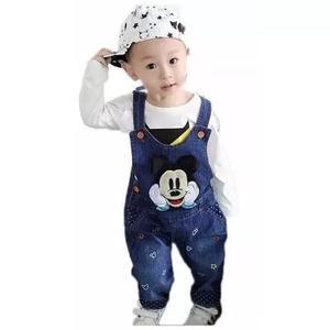 Roupa infantil criança macacão jeans mikey festa