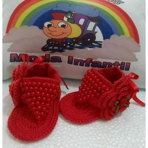 Sandalia de croche bebe infantil criança