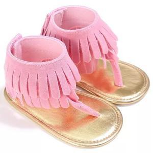 Sapato bebê chinelo com franjinhas sandália criança