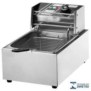Fritadeira elétrica 1 cuba 6 litros nova 220v c/ tampa inox