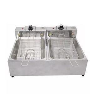 Fritadeira elétrica 2 cubas 10 litros 220v fritador inox