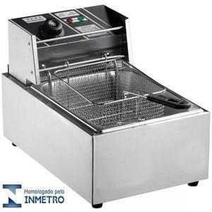 Fritadeira elétrica inox 1 cuba 110v 5lts c/ tampa grátis