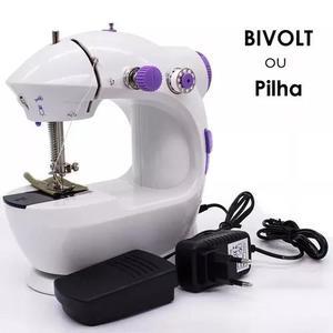 Mini maquina costura elétrica e pilha portátil com pedal