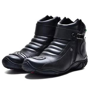 Bota cano curto motociclista zíper