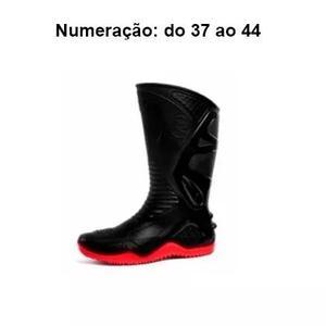 372c95b8446 Bota moto impermeável motosafe preta com vermelho