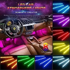 Carros luz led neon cores ambiente interno controle p