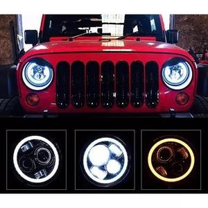 Farol led projetor wrangler troller jeep angel eyes à vista