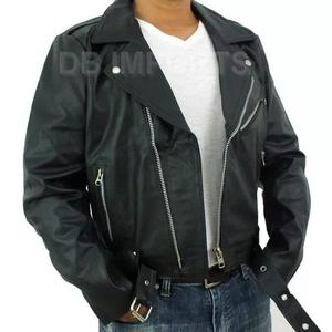 Jaqueta de couro motoqueiro 100% legítimo e pesado