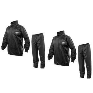 Kit 2 conjunto capa chuva pvc delta flex preto motoqueiro