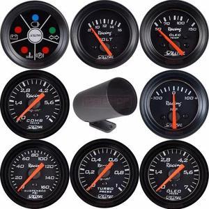 Kit relógio manômetro willtec 52mm medidor automotivo