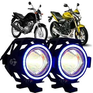 Par farol milha led auxiliar moto u7 neblina angel eyes fort