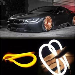 Par fita barra 60cm led flexível lanterna farol carro moto