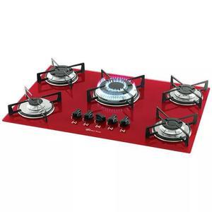 Cooktop vermelho rouge 5 bocas tripla chama fischer gás