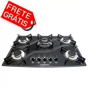 Fogão cooktop 5 bocas preto tripla chama - frete grátis