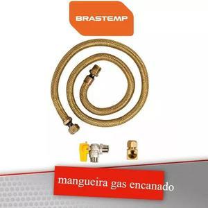 Kit mangueira 50cm registro e adaptador fogao gas encanado