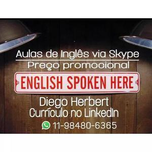 Aulas de inglês via skype - preço promocional