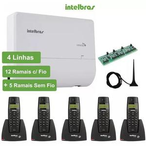 Kit central pabx intelbras modulare + 4/12 + 5 ramais s/fio