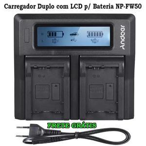 Carregador duplo com display lcd para bateria sony np-fw50