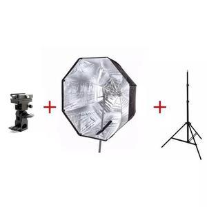 Kit para estudio octabox 120cm + suporte p/ flash + tripé