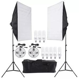 Kit soft box estúdio newborn luz continua 8 lampadas