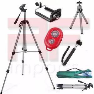 Tripé celular profissional 1,30 m + kit selfie + mini