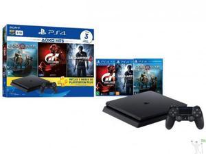 Playstation 4 slim 1tb sony 1 controle com 3 jogos - ps plus