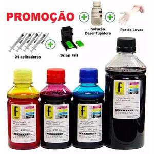 1350ml - kit tinta recarga cartuchos impressora hp + snap